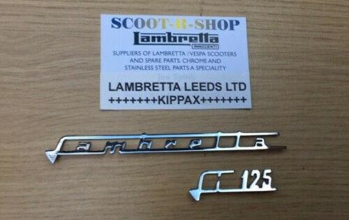 LAMBRETTA LI 125 CC  LEGSHIELD CHROME BADGE SET NEW CASA LAMBRETTA