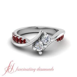 50-Ct-Round-Diamond-amp-Ruby-Modern-Twist-2-Stone-Engagement-Ring-In-Platinum