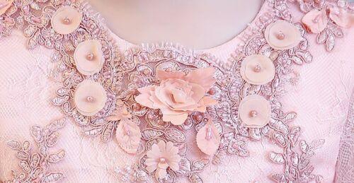 Childrens Flower Girls Long Sleeve Pink Bead Appliques Lace Wedding Dresses ZG9