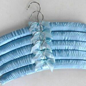 5x Clothes Hangers Satin Padded Luxury Soft Coat Hanger/'UK