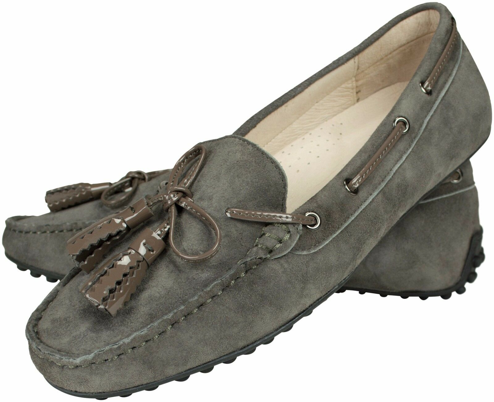 Mokassins Velours Leder grey Noppensohle loafer leather grey pebbled rubber sole