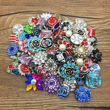 Random 50Pcs 3D Drill Snaps Chunk Charm button Fit For Noosa Bracelet Pendant 15