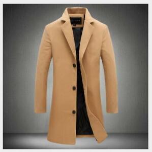 Long Wool Overcoat Warm Trench Winter Outwear Men/'s Coat Jacket Casual British