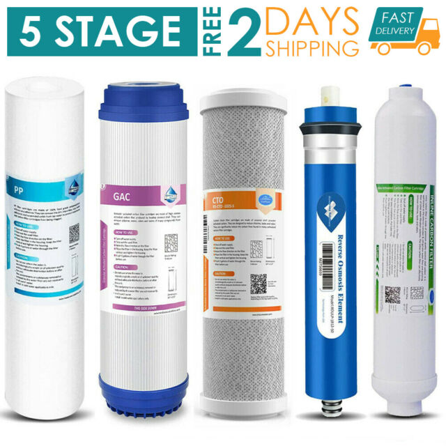 Complete Set of 5 Filters for Reverse Osmosis Water System  50 GPD Membrane