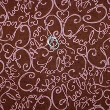 BonEful Fabric FQ Cotton Quilt Brown Pink Chocolate Candy WORD Heart I LOVE Lucy