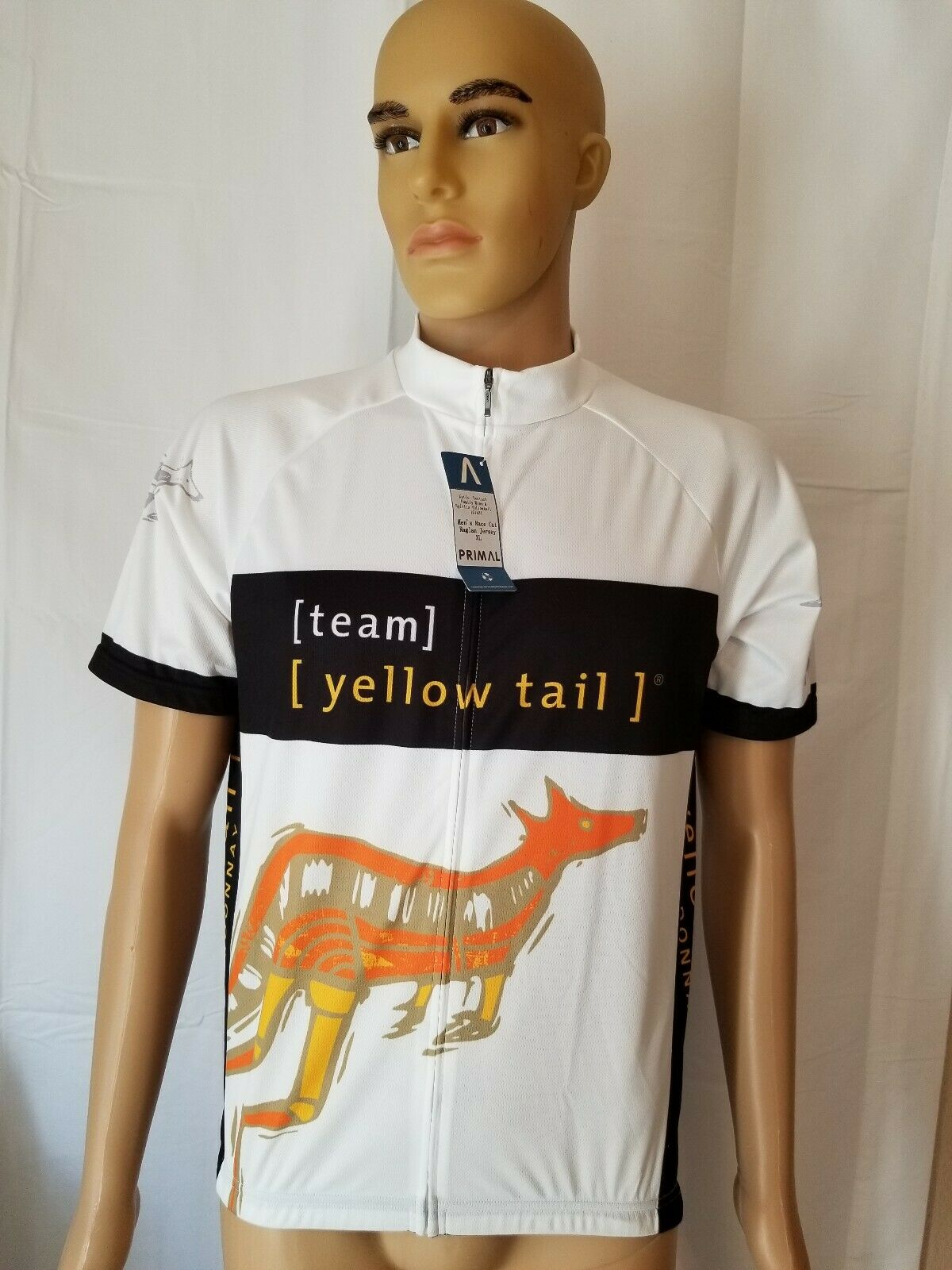 Rare Primal  Mens Race Cut Raglan Team Yellow Tail Wine Cycling Jersey White XL  hottest new styles