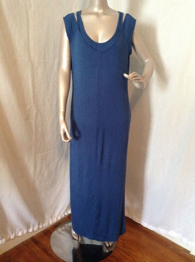 Lisa Rinna Collection Regular Cold Shoulder Maxi Dress, French bluee, Size Small