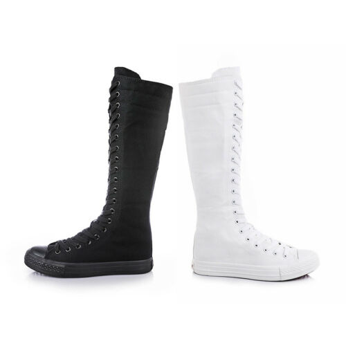 Womens Boots Knee High Lace Up Punk Canvas Calf Shoes Comfy Sneakers Fashion