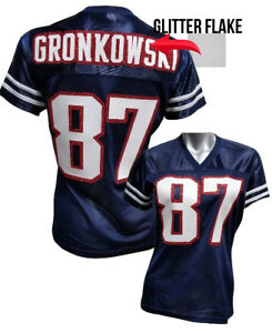 online store fe751 591e2 Details about Custom Womens Blinged Football BLUE/White Jersey, Rob  Gronkowski
