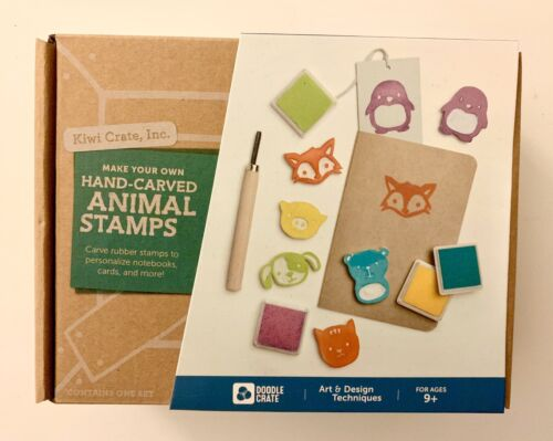Kiwi Crate Make Your Own Hand Carved Animals Stamps Kit NEW IN BOX