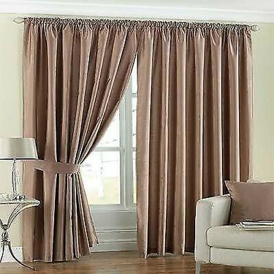 Latte Beige Lined Faux Silk Curtains Ties 8 Sizes EBay