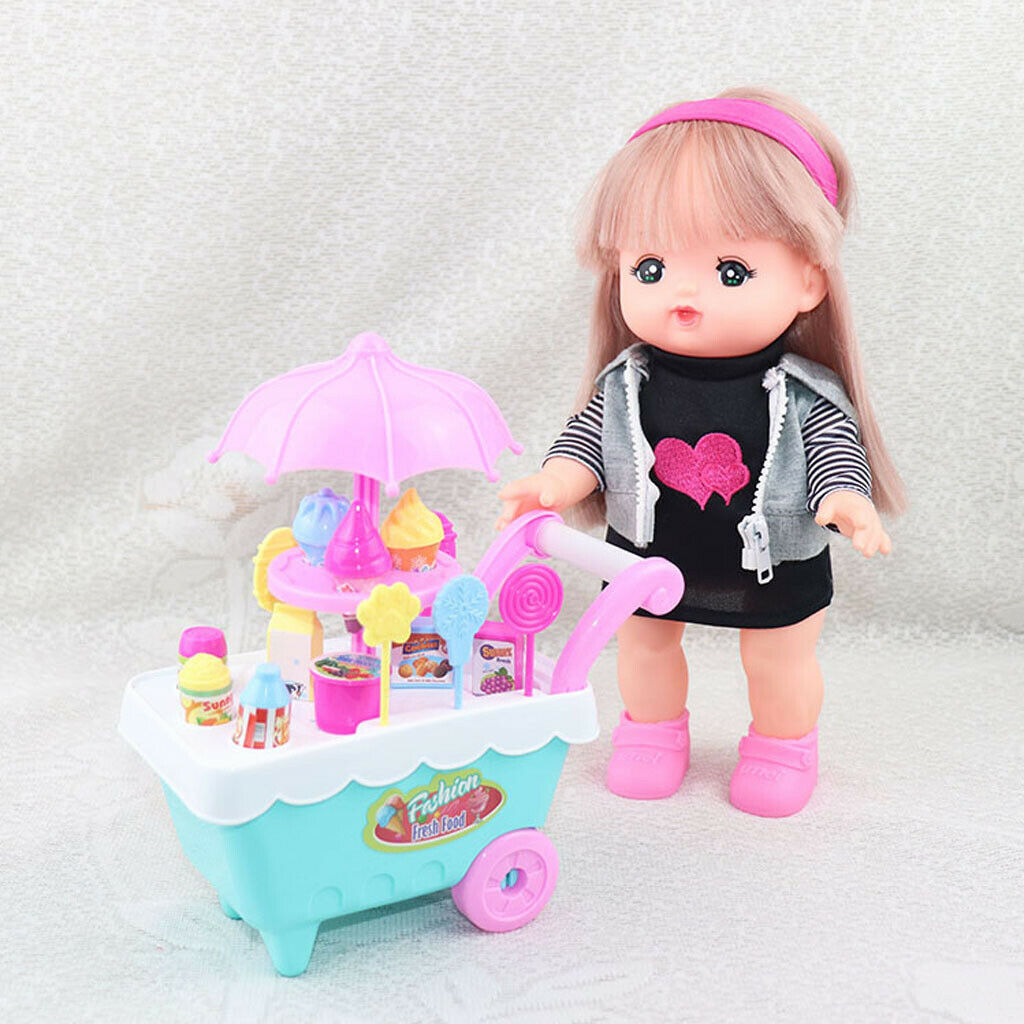 Ice Cream Cart Playset Toy for Reborn Doll Mellchan Baby Dolls Accessories