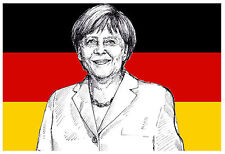 GERMANY FLAG (ANGELA MERKEL) - FUN SOUVENIR NOVELTY FRIDGE MAGNET - GIFTS - NEW