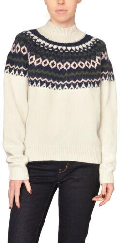 Just Female Ivory Fair Isle Mock Neck Sweater