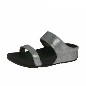 b6350c28a7560b Image is loading FitFlop-Lulu-Shimmersuede-Slide-Pewter-Womens-Sandals