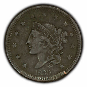 1839 1c Coronet Head Large Cent - Head of 38 - Mid-Grade Details - SKU-Y2634