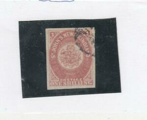 NEWFOUNDLAND-23-VF-LIGHT-USED-LARGE-MARGINS-1sh-ROSE-IMPERF-CAT-VALUE-160