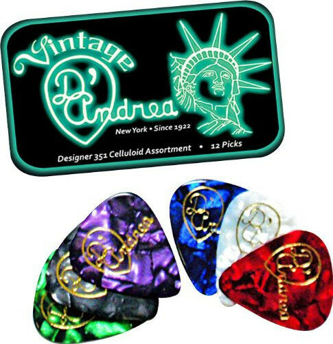 D/'ANDREA 351 DESIGNER CELLULOID Guitar Picks .46MM  Thin 12 picks in Tin