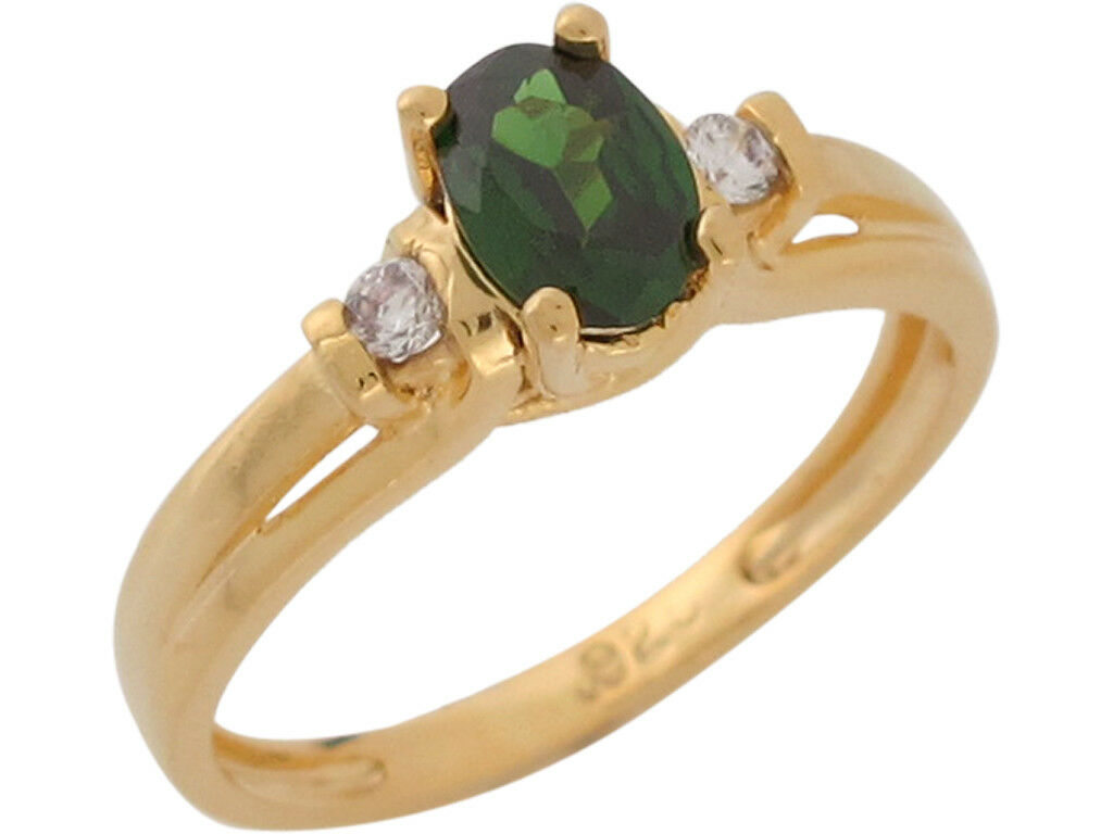 10k or 14k Yellow gold Simulated Emerald White CZ Split Shank Cute Ladies Ring