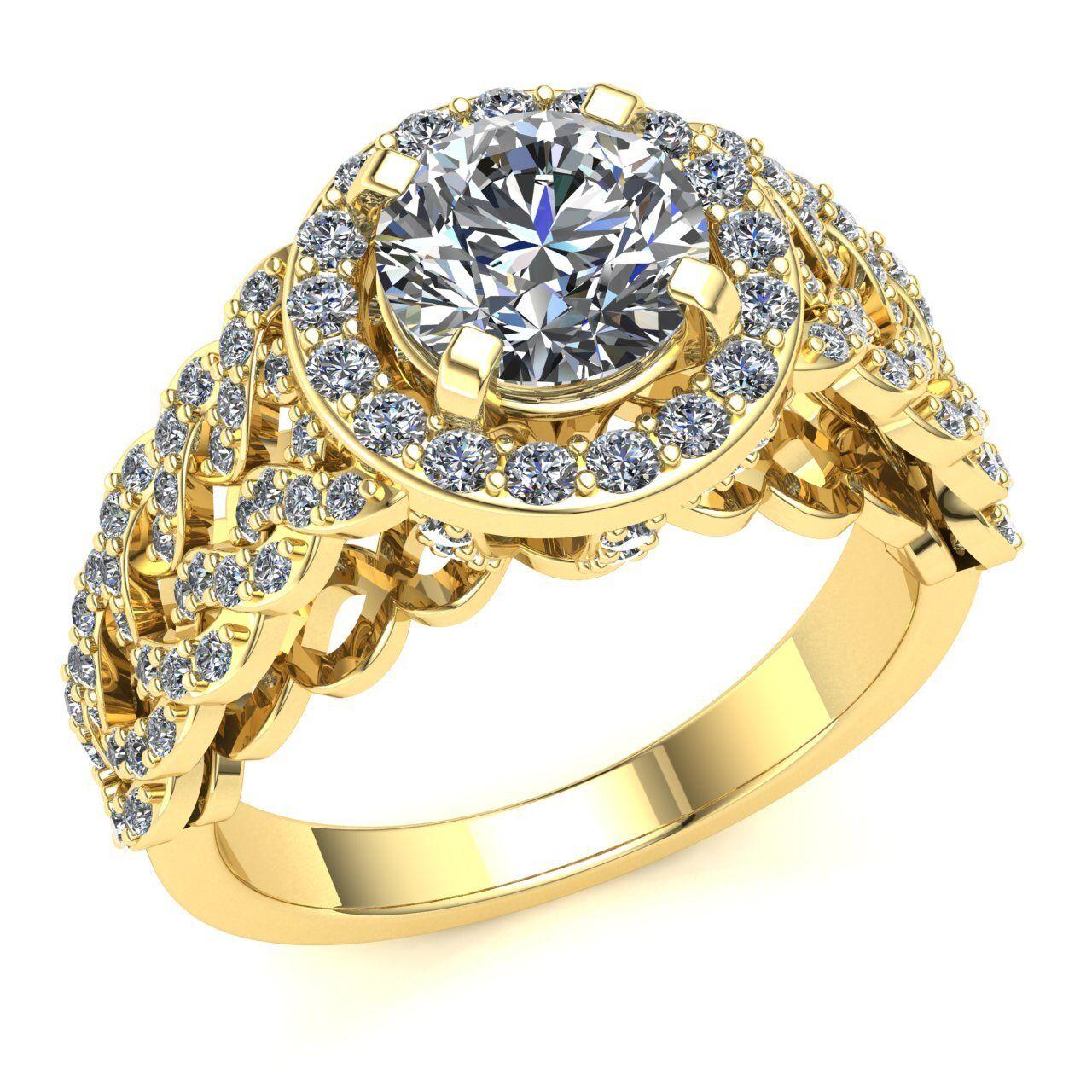 1.5carat Round Cut Diamond Bridal Halo Solitaire Bridal Engagement Ring 10K gold