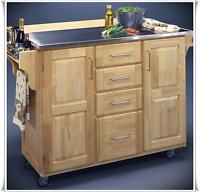 Kitchen Island Cart Rolling Stainless Steel Table Top Breakfast Bar Cabinet Home