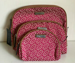 TOMMY-HILFIGER-3-PCS-DOME-TRAVEL-MAKEUP-POUCH-COSMETIC-ORGANIZER-CASE-49-RED