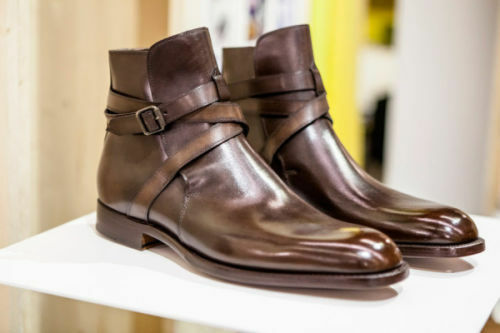 MENS HANDMADE BROWN JODHPURS GENUINE LEATHER BOOTS ANKLE HIGH LEATHER SOLE BOOTS