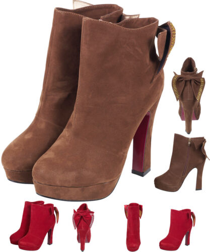 New Women/'s Ladies Brown Bow Faux Suede High Heels Block Ankle Boots Party Shoes