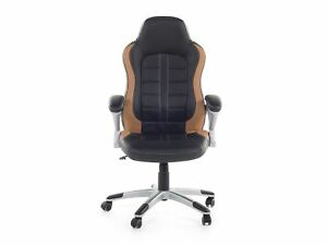 Gaming-Desk-Office-Chair-Ergonomic-Design-Black-and-Brown-Synthetic-Leather-Adju