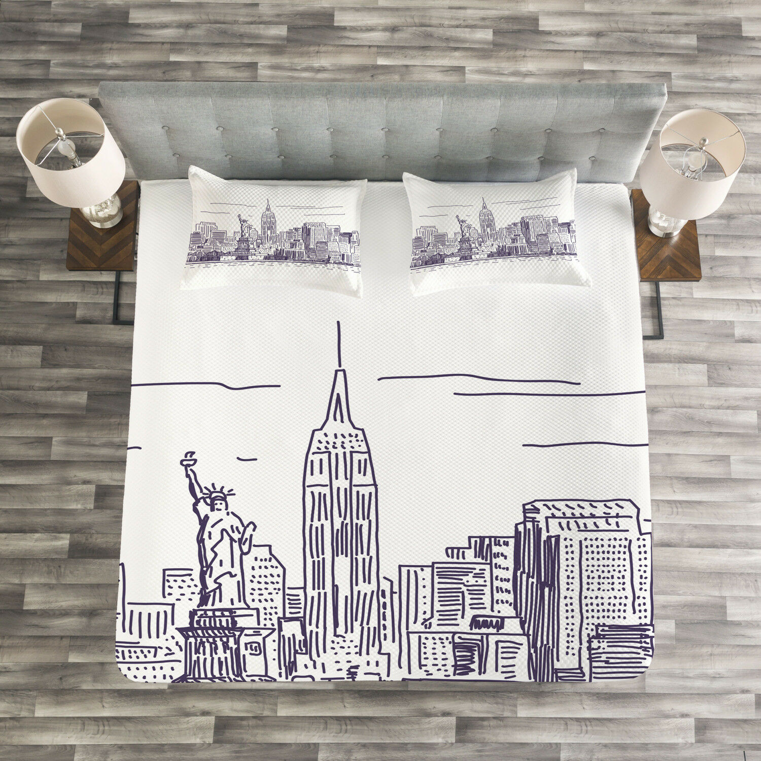 Panorama Quilted Bedspread & Pillow Shams Set, Sketchy NYC Island Print