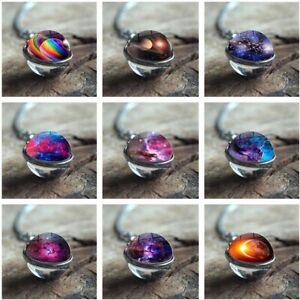 Universum-Planet-Glas-Halskette-Star-Leuchtenden-Anhaenger-Pullover-Kette-Schmuck