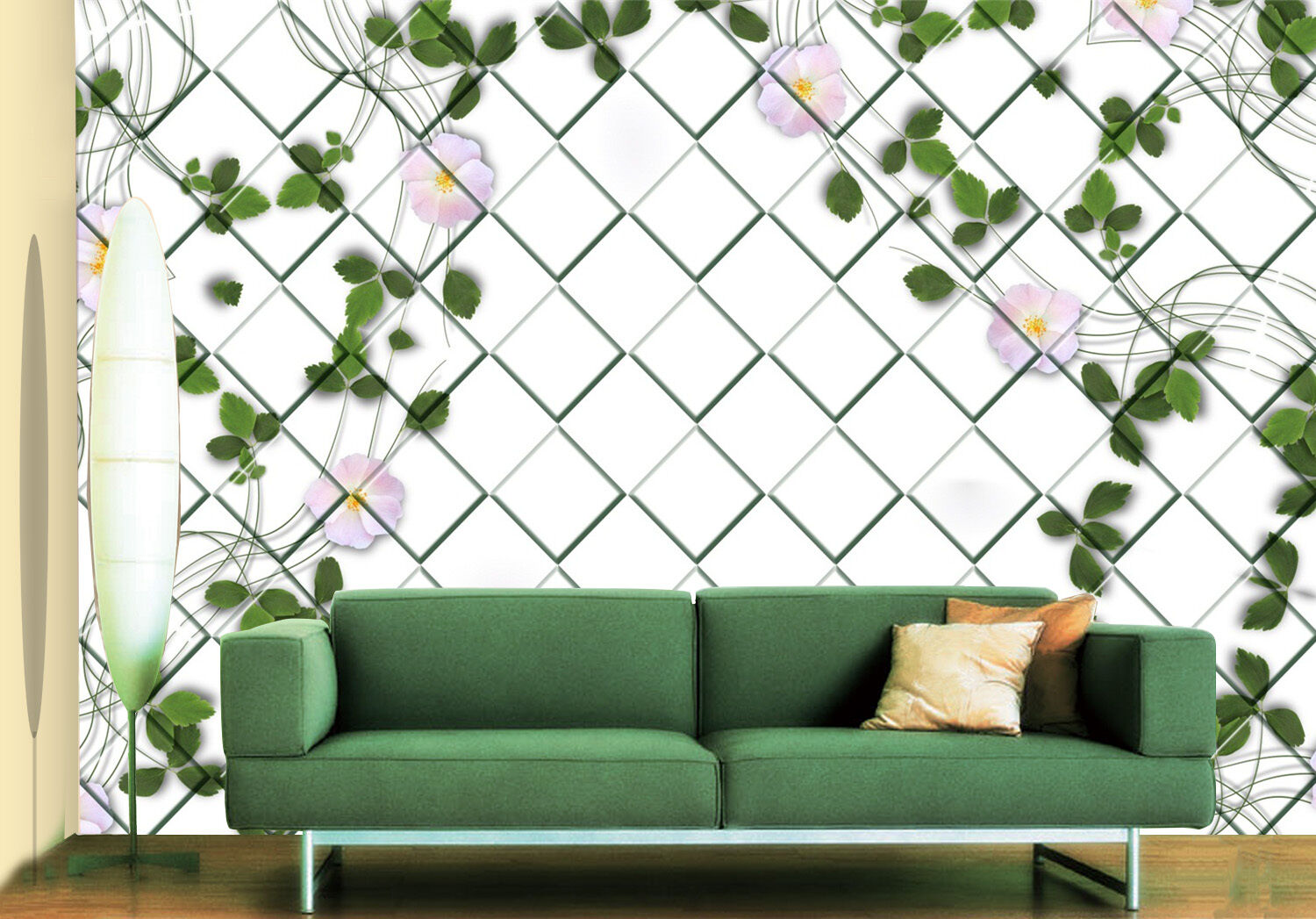 3D Flowers vines grid Wall Paper Print Decal Wall Deco Indoor wall Mural