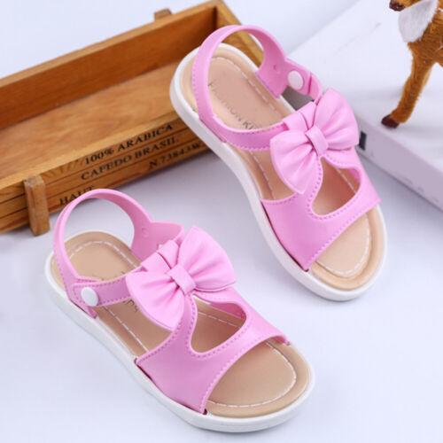 Girls Diamante Kids Sandals Children Sling Back Summer Flat Shoes Open Toe Size
