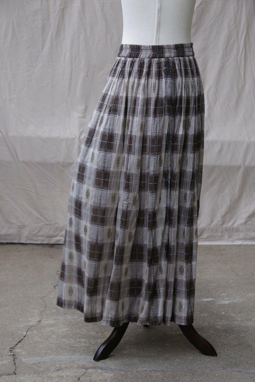 VTG hunt club plaid brown beige indian peasant gauze maxi pleated skirt M L XL