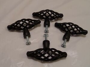 4 Style Vintage Noir Cage à Oiseaux Poignée De Meuble Cuisine Porte Tiroir Boutons.-afficher Le Titre D'origine MatéRiaux Soigneusement SéLectionnéS