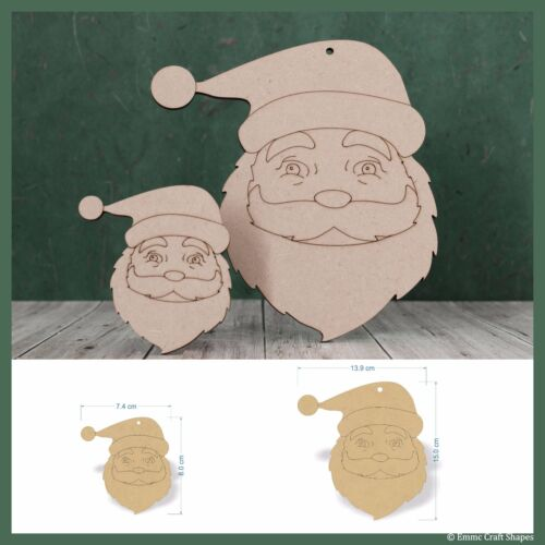 Wooden mdf Santa Claus faces Father Christmas craft shape decoration gift tag