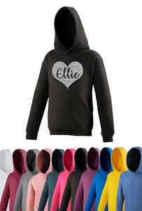 Personalised Heart Name Hoodie Kids Personalised Girls Glitter Gifts