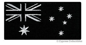 AUSTRALIA FLAG PATCH embroidered iron-on AUSTRALIAN new AUSSIE DOWN UNDER BLACK