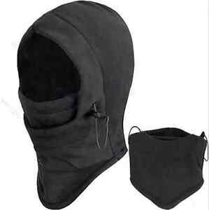 SNOOD-4-in-1-Winter-warmer-Fleece-Mens-scarf-BLACK-Hood-Balaclava-Neck-Face-Mask