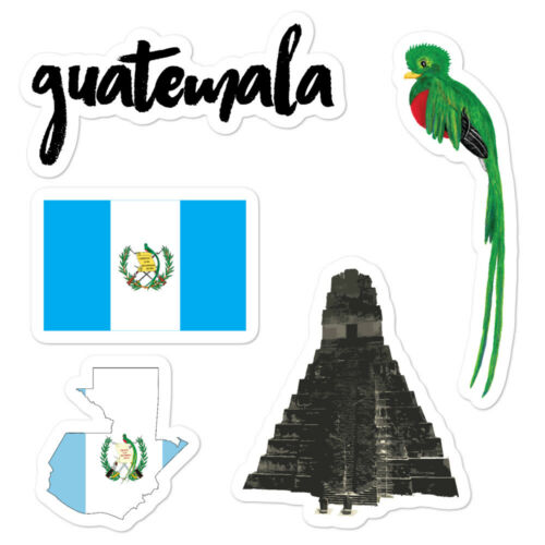 "Guatemala Sticker Pack 5.5x5.5/"" Flag Quetzal Tikal Mayan Chapin Coins Stamps"