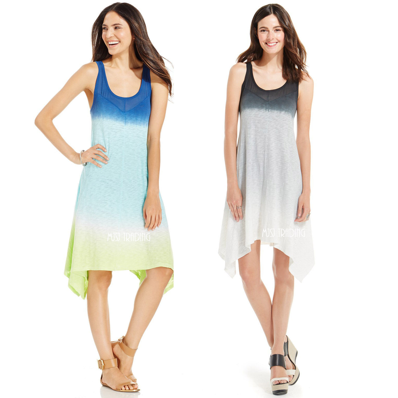 NWT DKNY Jeans Beautiful Ombré Shading Sleeveless Stylist Asymmetrical hem Dress