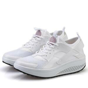 Breathable-Sport-Women-039-s-Wedges-Sneakers-Walking-Shoes-S4-Lace-Up-Athletic-2019