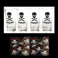 Skull Crossbones Poison Clear Drink Glasses-4-pc Set-man Cave-free Coasters-16oz