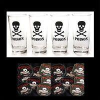 Skull Crossbones Poison Clear Drink Glasses-4-pc Set-man Cave-free Coasters-16oz