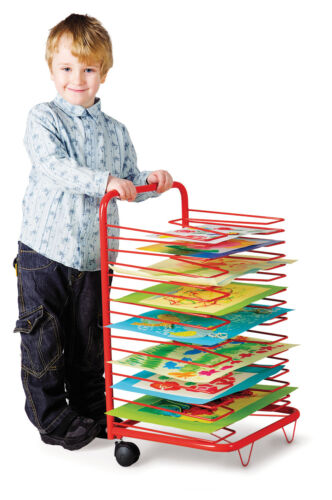 17 LEVELS SUITABLE FOR A3 ARTWORK MOBILE CLASSROOM DRYING RACK
