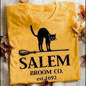 Black-Cat-Salem-Broom-Co-Est-1692-Tshirt-Women-Daisy-M-3XL