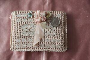 "Hand Crochet Pink Vintage Silk Ribbonwork Decorated c1920s Card Case~ L-3""X W-4"""