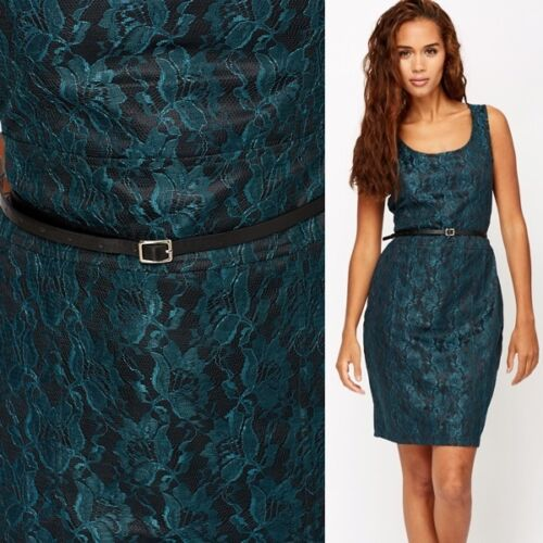 Vila 588 Rrp 59 Size Large 99 Incl Joy Green € Black Lace Overlay Party Dark Belt Cocktail Dress dq4rFq