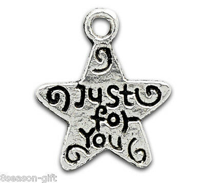 "100 Gift Silver Tone ""Just for You""  Charm Pendants"