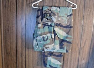 Army-Combat-Pants-Hot-Weather-BDU-Small-Short-Woodland-Camo-Paintball-Hunting